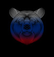 engraving stylized russian bear on black vector image vector image