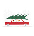 family in red car with green christmas tree on the vector image vector image