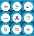 flat icon sea set of tuna medusa shark and other vector image vector image