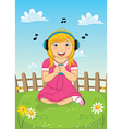 Girl Listening Music vector image