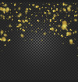 gold confetti falling and ribbons on black vector image vector image