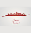 gorzow skyline in red vector image vector image