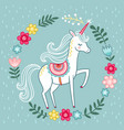 greeting card with unicorn on a green vector image