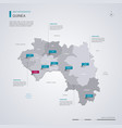 guinea map with infographic elements pointer marks vector image vector image