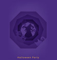 halloween party roughen octagon silhouette banner vector image