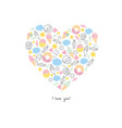 hand drawn abstract heart made of sweets vector image
