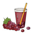 hand drawn glass of grape juice on a white backgr vector image vector image