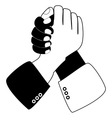 Handshake blue shaking hands vector image