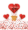 hearts balloons and heart air balloon to valentine vector image vector image