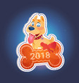 holiday sticker dog on bone with 2018 text vector image