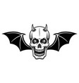 horned skull with bat wings vector image vector image