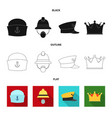 isolated object of headwear and cap icon set of vector image