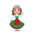 little girl wearing traditional costume of italy vector image vector image