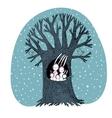 Magic Tree and cute rabbits vector image vector image