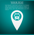 map pointer with bus on blue background vector image