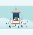 merry christmas winter wonderland scenes in s vector image