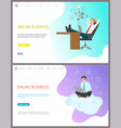 online business boss relaxing at workplace set vector image vector image