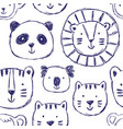 seamless childish pattern with cute animals vector image vector image