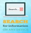 Search information on notebook in flat style on vector image