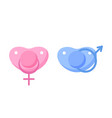 set baby pacifiers with gender sign vector image