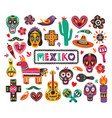 set national mexican symbols and traditional vector image vector image