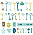 Set of Antique Keys and Locks vector image vector image