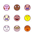 set of face avatar expression icons vector image vector image