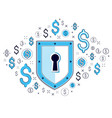 shield and dollar set of icons financial security vector image vector image
