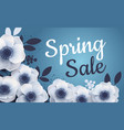 spring sale banner with paper flowers anemones vector image vector image