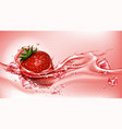 strawberry with juice flowing splash realistic vector image