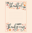 thanksgiving card thankful for list vector image