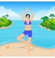 the girl is engaged in yoga on beach vector image