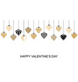 valentines day banner with hang decorative hearts vector image vector image