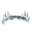 watercolor winter forest landscape with fir vector image vector image