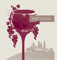 wine tasting menu with glass grapes and landscape vector image vector image