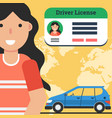 woman with driver license and car vector image