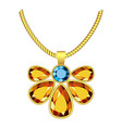 yellow and blue topaz jewelry icon realistic vector image