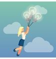 Young flat lady is dreaming about business ideas vector image