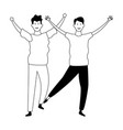 young men friends in black and white vector image vector image