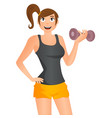 cute cartoon girl exercising with dumbbells vector image