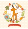 Hello autumn concept card with cute deer vector image