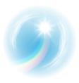 Sky with rainbow and the sun vector image