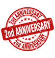 2nd anniversary red grunge stamp vector image vector image