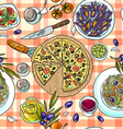 beautiful hand-draw simpless pattern italian food vector image vector image
