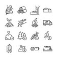 biomass line icon set vector image vector image