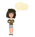 cartoon tough woman with folded arms with speech vector image vector image