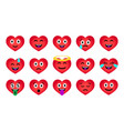 cartoon valentines day heart emoticons set vector image vector image