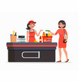 cashier and buyer at the supermarket flat vector image vector image