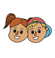 children head together with hairstyle design vector image