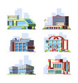 city shops and malls flat set vector image vector image
